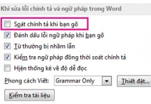 tắt kiểm tra chính tả trong word